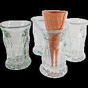 4 Old, Ice Cream Cone Glasses for Soda Fountain Use