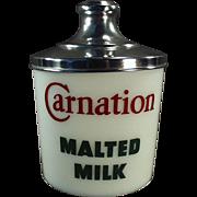 Vintage, Milk Glass Malt Canister -  Carnation Advertising