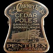 Vintage, Advertising, Paper Clip - Carney & Co. Cedar Poles