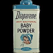 Vintage, Diaparene Baby Powder, Talc Tin