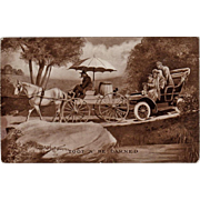 Vintage Postcard with Automobile and Horse Cart