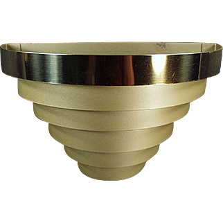 Vintage Wall Sconce - Tiered, Banded Metal - Electric