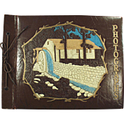 Vintage Photograph/Scrap Book with Waterwheel on Cover