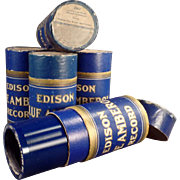 5 Vintage, Cylinder Phonograph Records - Edison, Blue Amberol with Original Boxes
