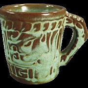 Vintage Frankoma - Mayan-Aztec Mug - 7CL in Green Glaze