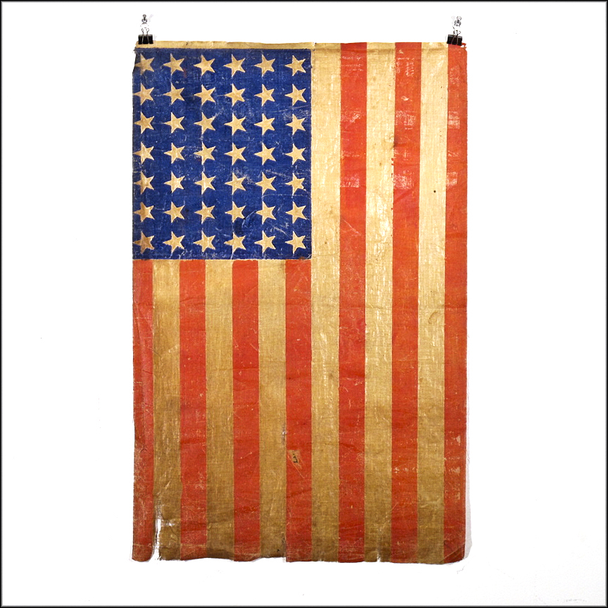 42 Star American Flag - 1889 - 1890 - Americana - Cotton Parade Flag with Rare Unofficial Star Count