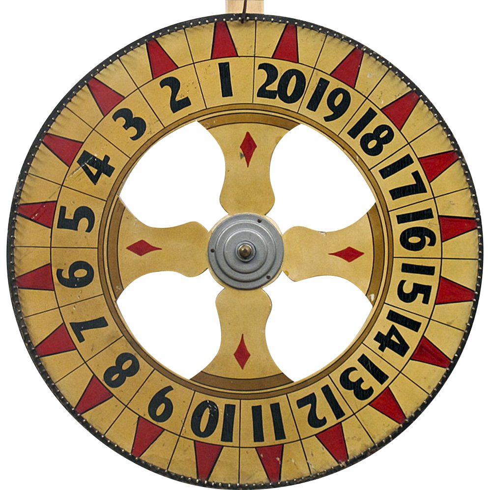 American Folk Art Carnival Wheel - Antique Americana - Wooden Gaming Wheel - Game of Chance - Double Sided