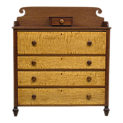 Antique American Country Chest of Drawers - Cherry with Tiger and Birdseye Maple - 1800 - 1825