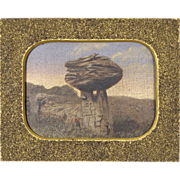 Fine 19th C American Folk Art Painting w/ Sandpaper Frame - Mushroom Rock in Kansas - Americana - Naive - Primitive