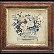 Antique Theorem Painting on Velvet in Original Frame - Americana - Folk Art -  Textiles - 1800 - 1840 - Birdseye Maple Veneer