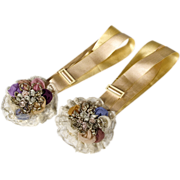 Absolutely the Best Silk Garters - Chiffon Roses and Metallic Trim