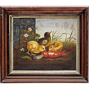 19th C Victorian Oil on Canvas Genre Painting in the style of Ben Austrian and Mary Russell Smith - Chicks with Crayfish and Mussels - Southern Art - Folk Art - Naive