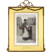 """Elaborate Antique Frame with Barbola Swags and Bow and a 19th C Hand Colored Lithograph by H J Johnstone - """"Sweet Violets"""""""