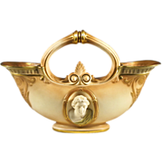 19th C Royal Worcester Blush Double Spouted Vase with Figurehead Sculptural Busts - Antique