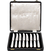 Set of Knives with Carved MOP Handles and Fitted Box- Eight Fruit Knives