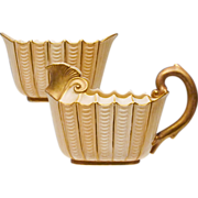 Antique Royal Worcester Blush Ivory Cream and Sugar - 1888