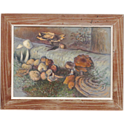 Forest Scene with Mushrooms and Fungi - Theodore Fried - Listed 20th C Hungarian Artist - Oil Painting on Board