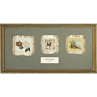SALE Antique L. Prang Valentines with Silk Fringe from the Norcross Historical Collection - c. 1880's - Framed