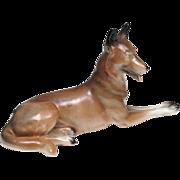 Porcelain Belgian Malinois Dog Figurine - German, V.E.B. Unterweißbacher Werkstätten für Porzellankunst