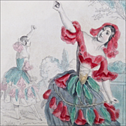Antique Steel Engraving 'Pom-Granate' from Grandville's 'Les Fleurs Animees' - Hand Colored with Elaborate Triple French Mat