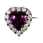 Heart of Purple Secrets - Georgian Paste Brooch