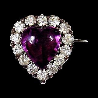 SALE Heart of Purple Secrets - Georgian Paste Brooch