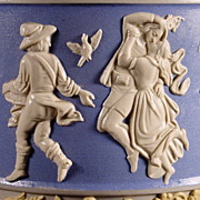 Large 19th C Mettlach Relief Pitcher / Stein w/ Figures Representing the Months & Seasons