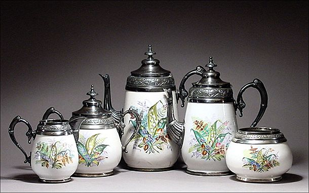 19th C American Graniteware / Enamelware Set w/ Decorative Pewter Mounts Signed & Numbered Manning Bowman - Pearl Agateware w/ White Metal  Protection Bands - Enamel Ware - Granite Ware - Agate Ware - Teapot / Tea Pot - Coffeepot / Coffee Pot