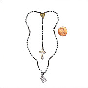 Miniature French Doll Rosary w/ Opaline Beads, Heart Shaped Center (!) & Lourdes Medal