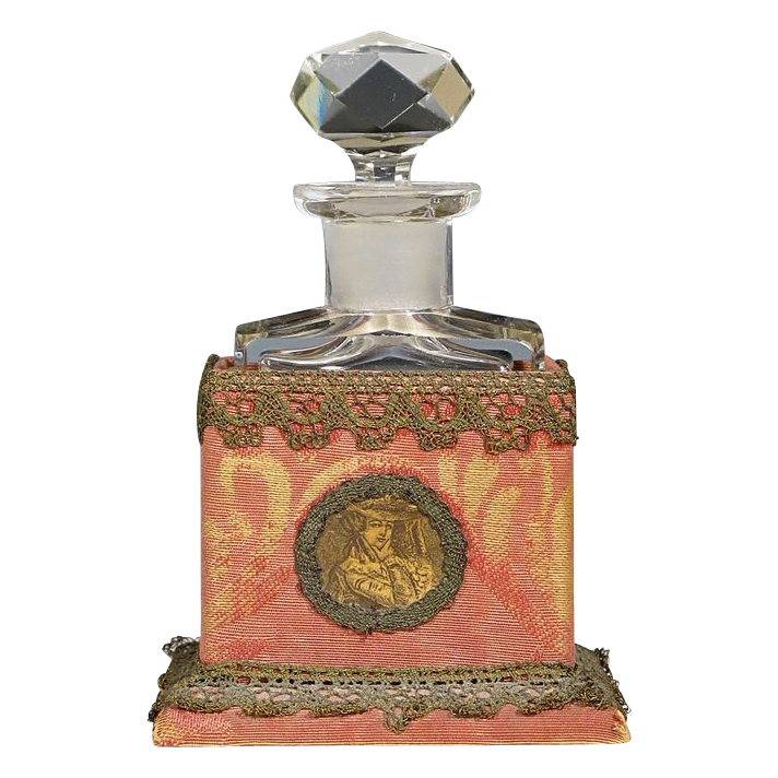 Antique French Perfume Bottle in Brocade Covered Portrait Case with Metallic Lace