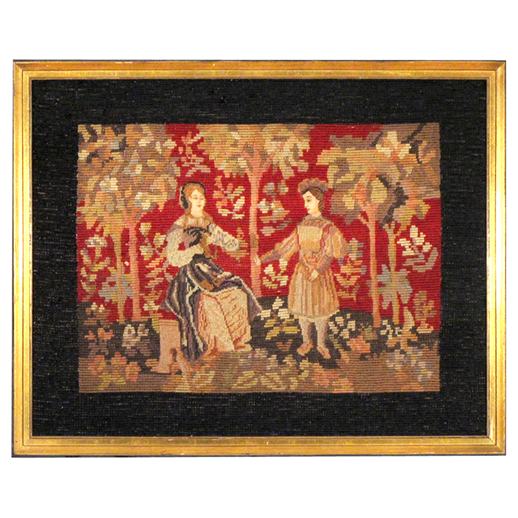 Antique Berlin Work Needlepoint - Medieval Cluny Tapestry Style - Framed