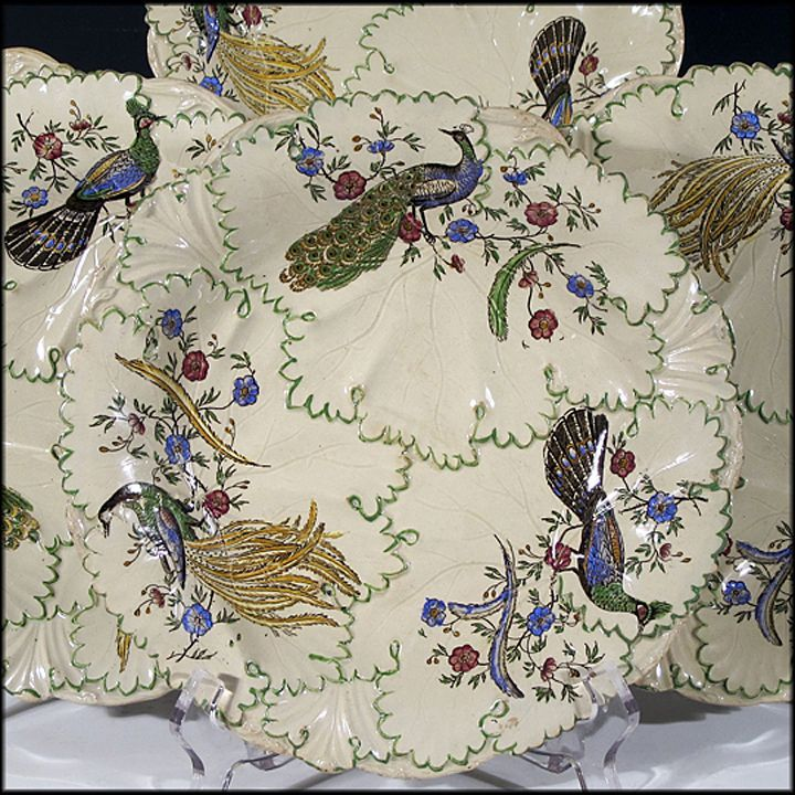 Six Copeland and Garrett Plates - Relief Molded with Leaves and Vines - Painted Peacocks and Flowers