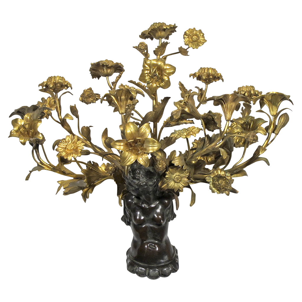 Bronze Nude Sconce with Gilded Flowers, Buds, and Leaves