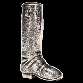 Sterling Equestrian Boot Vesta Match Safe - Silver Matchsafe