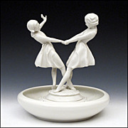 Hutschenreuther Figurine by Carl Werner - Dancing Women / Girls with Flower Frog Base