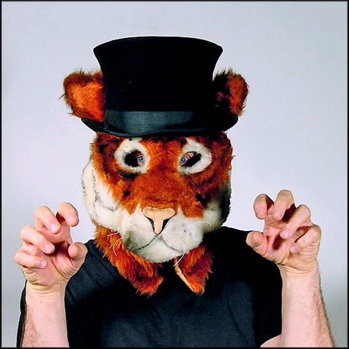 Grrr... Tiger with a Top Hat - Adult Size Full Head Mask Professionally Hand Tailored in the USA - Cosplay