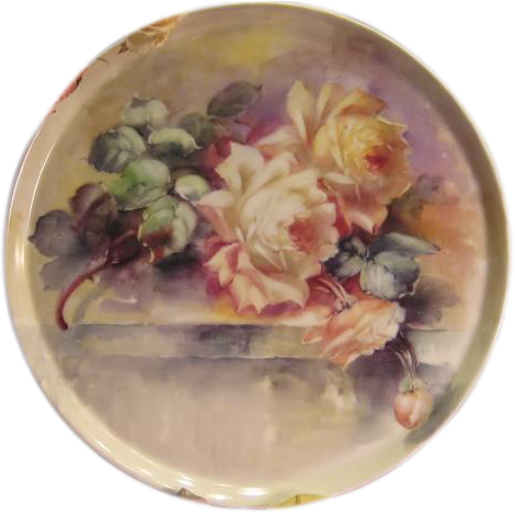 "Breathtaking LARGE 15 3/4"" ROMANTIC TEA ROSES Antique Limoges French Hand Painted Victorian Canvas Art Plaque Tray Charger Tressemann and Vogt T&V circa 1900"