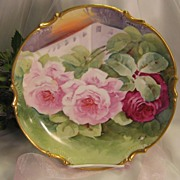 """BREATHTAKING FRENCH TRIO OF ROSES"" Gorgeous Antique Limoges France Hand Painted Decorative Art Wall Charger or Cabinet Plate Famous Listed French Artist Signature ""LUC"" Circa 1900"