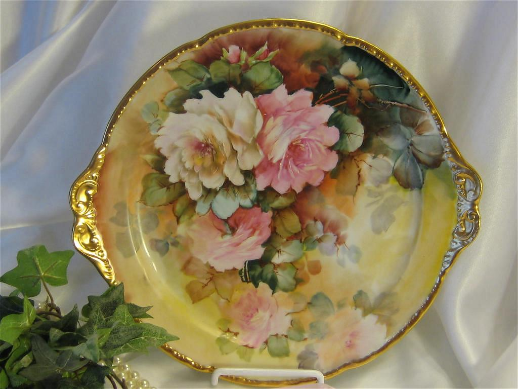 """WHITE and PINK ROSES"" LIMOGES MASTERPIECE Antique Hand Painted Cake Plate ~ Handled Serving Tray Signed by BLANCHE LENZI Norristown PA Respected Talented Favorite of All Victorian Roses Artists Original Handpainted Floral Artwork on French Porcelain"