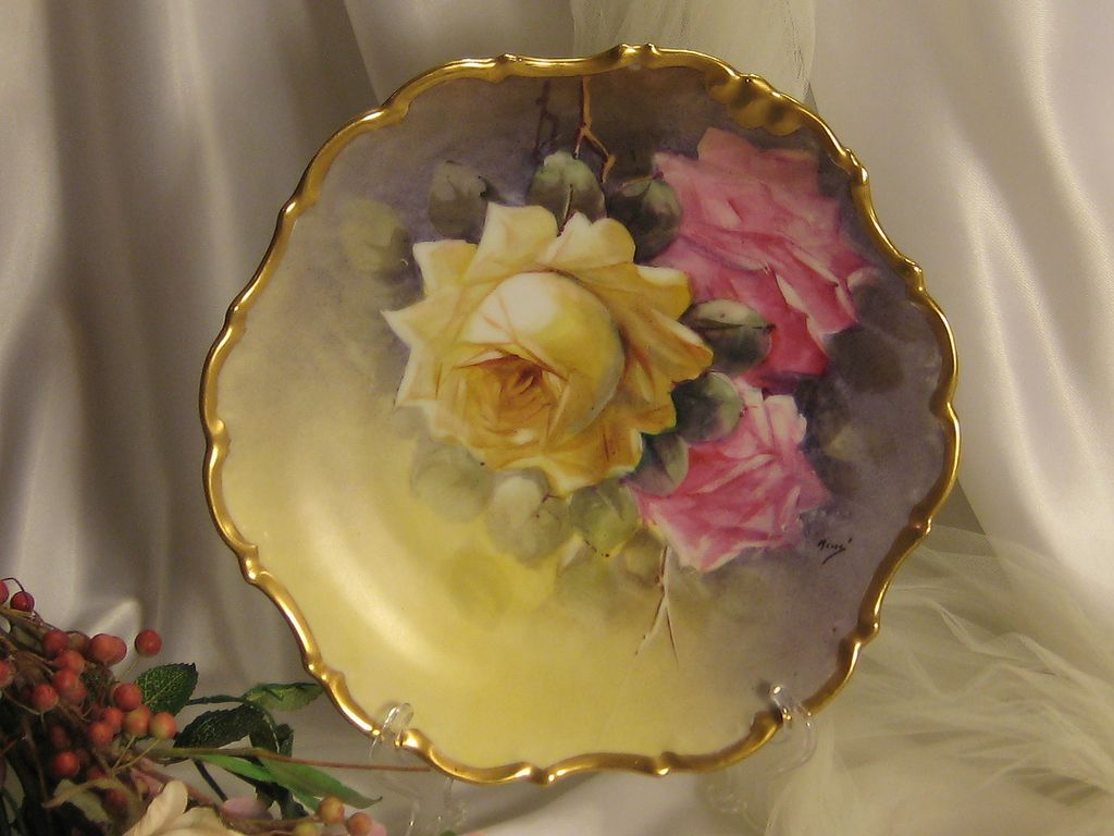 """TRIO OF ROSES"" Antique Limoges France Hand Painted Roses Art Wall Plaque Charger Artist Signed ""Rene"" Yellow and Pink Victorian Roses Highly Collectible Still Life China Painting Masterpiece Heirloom Circa 1900"