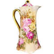 Gorgeous Pink Burgundy Yellow Roses Antique HAVILAND LIMOGES France CHOCOLATE POT Stunning Hand Painted Tea Roses Floral Art China Painting Circa 1900