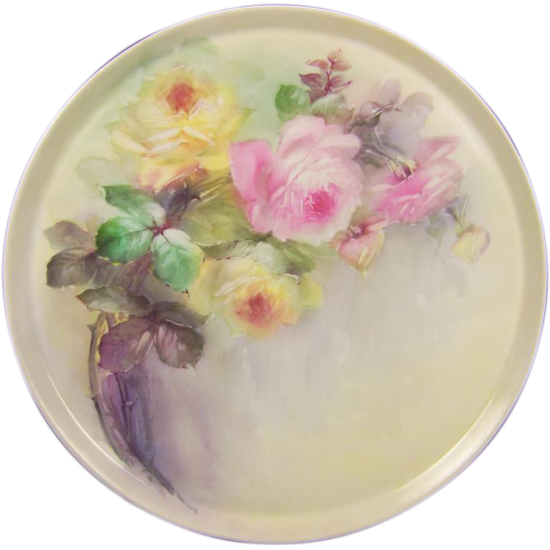 """Breathtaking LARGE 16"""" ROMANTIC TEA ROSES Antique Limoges French Hand Painted Victorian Canvas Art Plaque Tray Charger Tressemann and Vogt T&V circa 1900"""