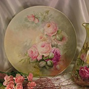 """BEAUTIFUL ROMANTIC SOFT ROSES"" Large 13-5/8"" Antique Hand Painted Limoges France Fine Art Plaque Charger Chop Plate Tea Service Tray Floral Art China Painting Artist Signed Fine French Porcelain T&V circa 1900"