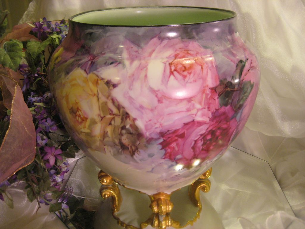 """""""BREATHTAKING ROSES"""" Massive and Rare Footed FRENCH JARDINIERE PLANTER POT Gorgeous Antique Limoges France Hand Painted Victorian Treasure Collector Piece Master Artistry Franz A. Bischoff Franz B. Aulich Circa 1900"""