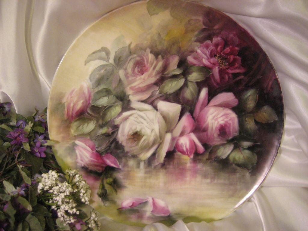 """ROMANTIC VICTORIAN ROSES"" Absolutely Stunning Large 16"" Antique Hand Painted Limoges France Charger Plaque Tray Plate Vintage Victorian Heirloom Floral Art China Painting Original ONE-OF-A-KIND Handmade Artistry Fine French T&V Circa 1900"