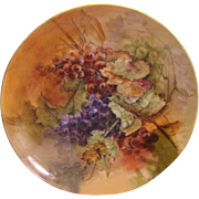 """LUSCIOUS GRAPES"" Large 16"" Antique Limoges France Charger Wall Plaque Hand Painted Victorian Treasure Art China Painting Fine French Porcelain Circa 1891"