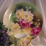 """Beautiful Floral Garden Roses"" Gorgeous Limoges France 8 ½"" Hand Painted Antique Porcelain Floral Cabinet Art Plate Circa 1900"