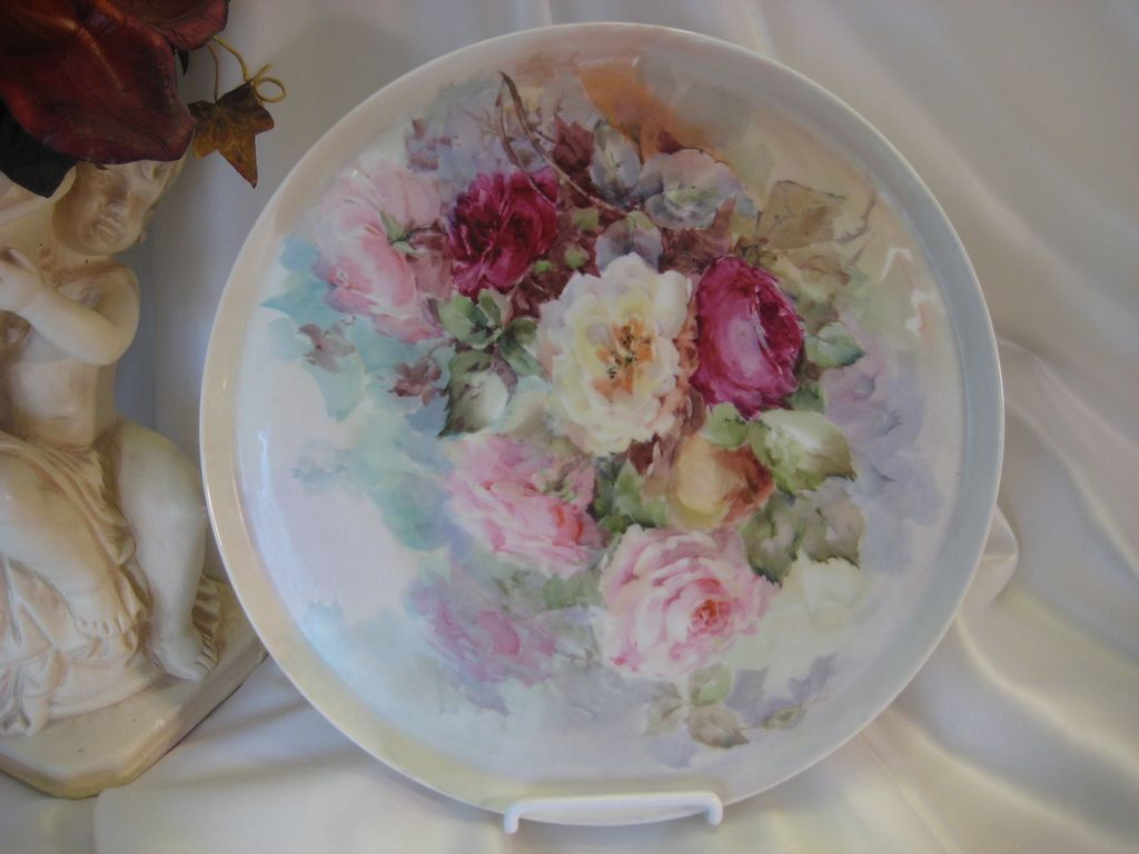 """GORGEOUS VICTORIAN TEA ROSES"" Antique Limoges Vintage Heirloom Victorian Lady's Boudoir French Porcelain Dresser Tea Service Tray Hand Painted Pastel Floral Art China Painting circa 1900"