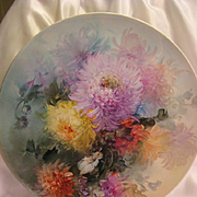 "Absolutely Superb Limoges France 15 ¾"" Hand Painted Artistry Of Gorgeous Vivid Chrysanthemums ~ Stunning Antique Plaque Charger Chop Plate Tray Victorian Heirloom Floral Art China Paintings Artist Signed Fine French Porcelain Jean Pouyat circa 1891"