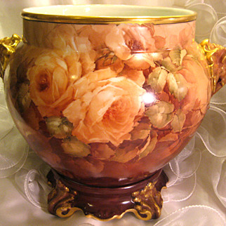 Truly Magnificent HUGE Antique Limoges France ELEPHANT HEADS JARDINIERE w Matching Base ~ Breathtaking Hand Painted Roses ~ Museum Quality ~ Masterpiece Painting ~ Superb Artistry Jean Pouyat JPL Circa 1890 – 1932